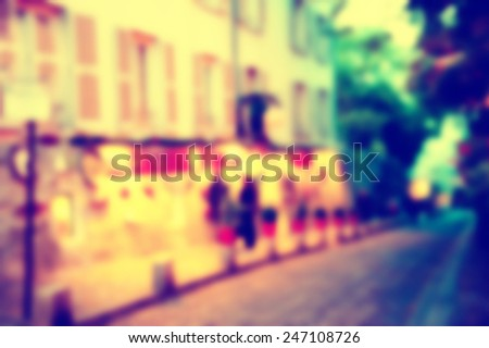 France background blur street lights cafe - stock photo