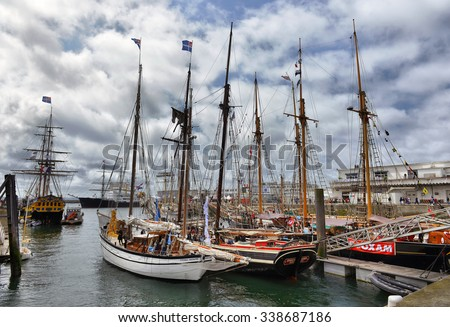 FRANCE. BREST-JULY-17, 2012: festival of sailing in the port of Brest: FRANCE. BREST-JULY-17, 2012 - stock photo