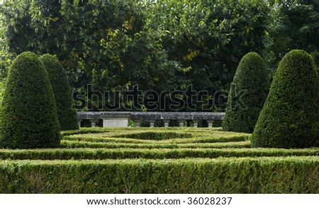 France, castle of Auvers sur Oise, formal garden - stock photo