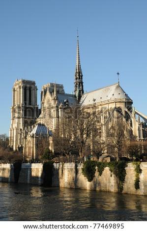 France, cathedral Notre-Dame de Paris - stock photo
