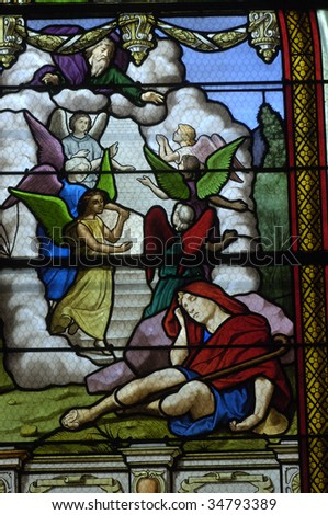 France, church of Les Mureaux, stained glass window