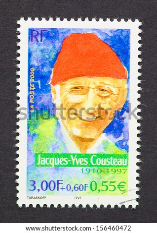 FRANCE - CIRCA 2000: a postage stamp printed in France showing an image of Jacques-Yves Cousteau, circa 2000.  - stock photo