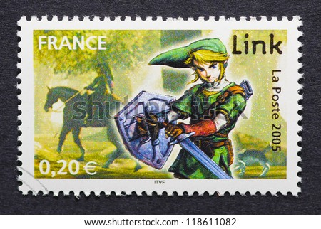 FRANCE - CIRCA 2005: a postage stamp printed in France showing an image of Link a character of The Legend of Zelda video game, circa 2005. - stock photo
