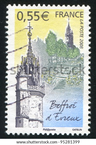 FRANCE - CIRCA 2008: A stamp printed by France, shows Belfry of Evreux, circa 2008
