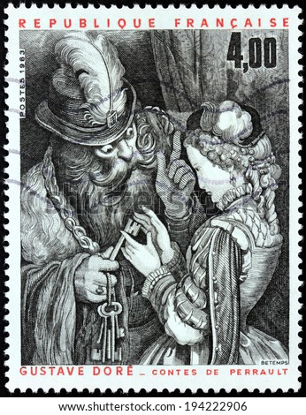 FRANCE - CIRCA 1983: A stamp printed by FRANCE shows Bluebeard, his Wife, and the Keys in a 19th-century illustration by famous French artist, printmaker and illustrator Gustave Dore, circa 1983 - stock photo