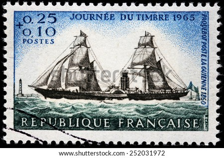 FRANCE - CIRCA 1965: A stamp printed by FRANCE shows French Post-liner Guienne 1860, circa 1965 - stock photo