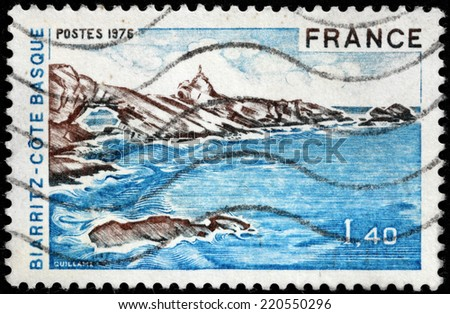 FRANCE - CIRCA 1976: A stamp printed by FRANCE shows landscape of the the Bay of Biscay, on the Atlantic coast in the Pyrenees Atlantiques department in southwestern France, circa 1976. - stock photo