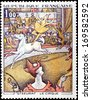 FRANCE - CIRCA 1969: A stamp printed by FRANCE shows picture The Circus (Le Cirque)  by French Post-Impressionist painter Georges-Pierre Seurat, circa 1969 - stock photo