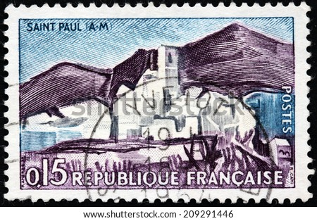 FRANCE - CIRCA 1961: A stamp printed by FRANCE shows Saint-Paul-de-Vence - famous in the world wide medieval village located in south of France, circa 1961 - stock photo