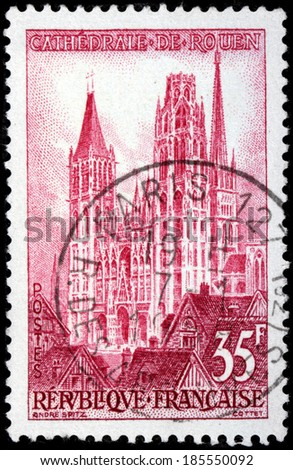 FRANCE - CIRCA 1957: A stamp printed by FRANCE shows view of Rouen Notre Dame Cathedral. Rouen in north-western France on the River Seine, is the historic capital city of Normandy, circa 1957 - stock photo