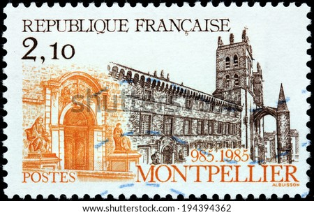 FRANCE - CIRCA 1985: A stamp printed by FRANCE shows view of The Montpellier Cathedral - a Roman Catholic cathedral and a national monument of France located in the city of Montpellier, circa 1985 - stock photo