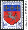 "FRANCE - CIRCA 1966: A stamp printed in France from the ""Arms of French Towns 6th Series"" issue shows Saint-Lo coat of Arms, circa 1966. - stock photo"