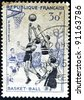 FRANCE - CIRCA 1956: A stamp printed in France showing a basketball game, circa 1956. - stock photo