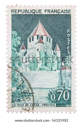 FRANCE - CIRCA 1964: A stamp printed in France showing Caesar's Tower, circa 1964
