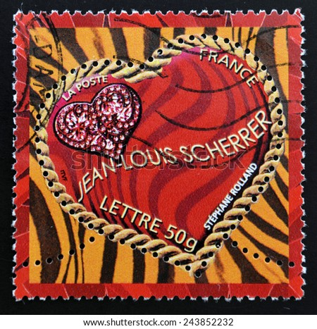 FRANCE - CIRCA 2003: A stamp printed in France shows a heart by Jean Louis Scherrer, circa 2003