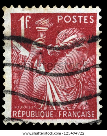 """FRANCE - CIRCA 1939: A stamp printed in France shows Allegorical subjects: Iris (Goddess of the Rainbow), without inscription, from the series """"Allegorical subjects"""", circa 1939 - stock photo"""
