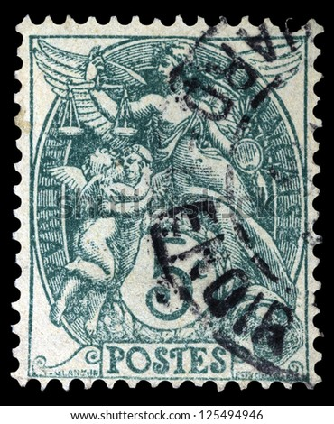"""FRANCE - CIRCA 1898: A stamp printed in France shows Allegorical subjects: Liberty, Equality Fraternity, without inscription, from the series """"Allegorical subjects"""", circa 1898 - stock photo"""