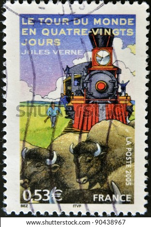 "FRANCE - CIRCA 2005: A stamp printed in France shows an image of ""Around the World in Eighty Days"" a novel by Jules Verne, circa 2005 - stock photo"