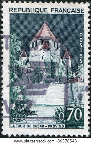 FRANCE - CIRCA 1964: A stamp printed in France, shows Caesar's Tower, Provins, circa 1964