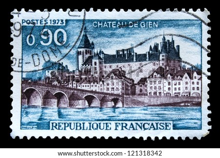 FRANCE - CIRCA 1973: A stamp printed in France shows Chateau de Gien, circa 1973