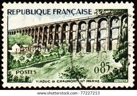 FRANCE - CIRCA 1960: A stamp printed in France shows Chaumont Viaduct, circa 1960