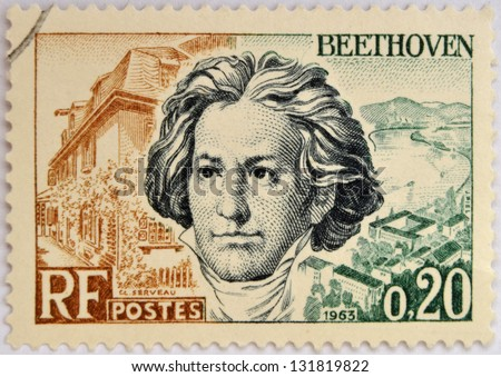 FRANCE - CIRCA 1963: A stamp printed in France shows Ludwig van Beethoven, famous classical music composer and virtuoso pianist, circa 1963 - stock photo