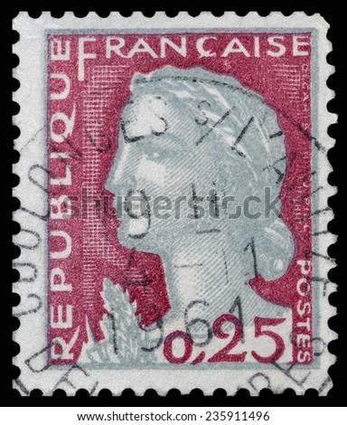 FRANCE - CIRCA 1960: A stamp printed in France shows Marianne,  Decaris, circa 1960. - stock photo