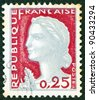 FRANCE - CIRCA 1960: A stamp printed in France shows Marianne, type Decaris, circa 1960. - stock photo