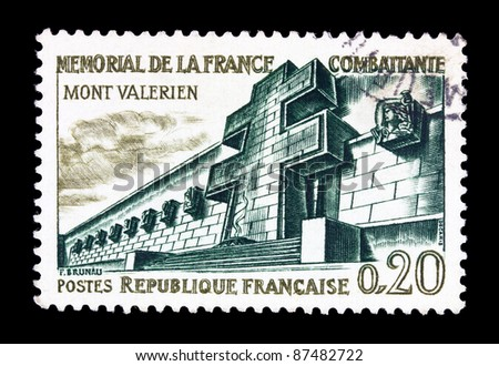 FRANCE - CIRCA 1962: A stamp printed in FRANCE shows Memorial to Fighting France, Mont Valerien, France, circa 1962.