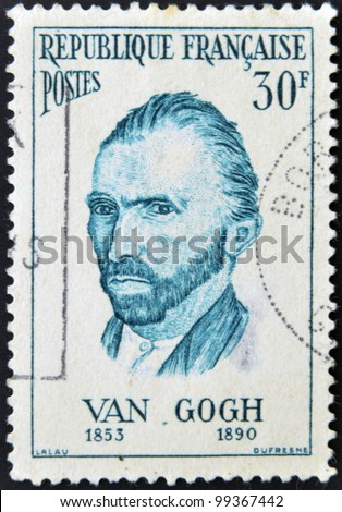 FRANCE - CIRCA 1950: A stamp printed in France shows self-portrait of the artist Van Gogh, circa 1950 - stock photo