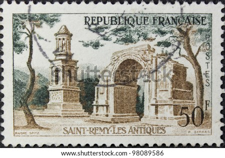FRANCE - CIRCA 1958: A stamp printed in France, shows st remy les antiques, circa 1958.