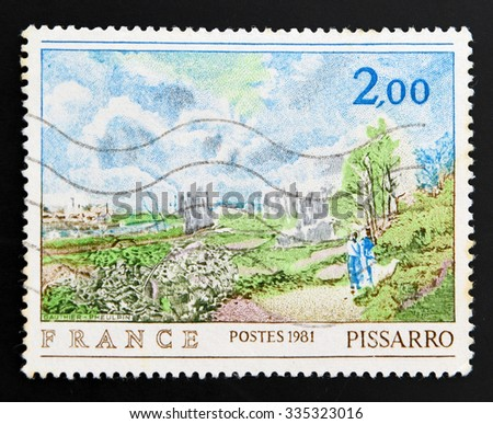 FRANCE - CIRCA 1981: A stamp printed in France shows The Path in Chou by Pissarro, circa 1981