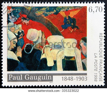 """FRANCE - CIRCA 1998: A stamp printed in France shows the work """"Vision after the Sermon"""" by Paul Gauguin, circa 1998 - stock photo"""