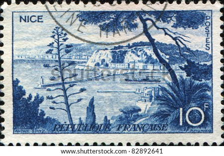 FRANCE - CIRCA 1958: A stamp printed in France shows view  of Nice, France, series, circa 1958 - stock photo