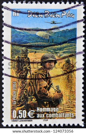 FRANCE - CIRCA 2004: A stamp printed in France tribute to the combatants in the Vietnam War, circa 2004