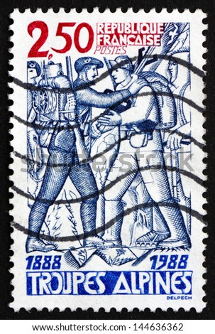 FRANCE - CIRCA 1988: a stamp printed in the France shows Alpine Troops, Centenary, circa 1988 - stock photo