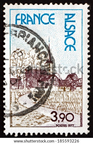 FRANCE - CIRCA 1977: a stamp printed in the France shows Alsace, Region in France, circa 1977 - stock photo