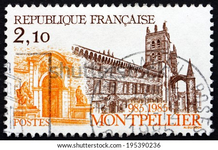FRANCE - CIRCA 1985: a stamp printed in the France shows Cathedral at Montpellier, National Monument of France, circa 1985 - stock photo