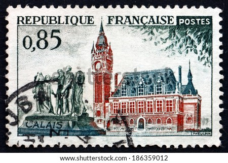 FRANCE - CIRCA 1961: a stamp printed in the France shows City Hall and Rodin's Burghers, Calais, circa 1961