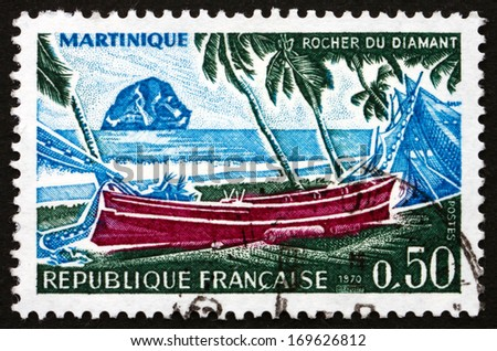 FRANCE - CIRCA 1970: a stamp printed in the France shows Diamond Rock, Martinique, circa 1970