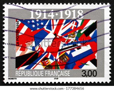 FRANCE - CIRCA 1998: a stamp printed in the France shows End of World War I, 80th Anniversary, circa 1998 - stock photo