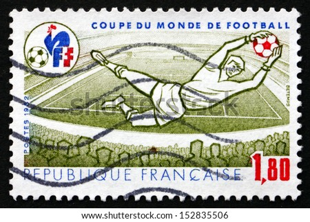 FRANCE - CIRCA 1982: a stamp printed in the France shows Goalkeeper in Action, 1982 World Cup, circa 1982 - stock photo
