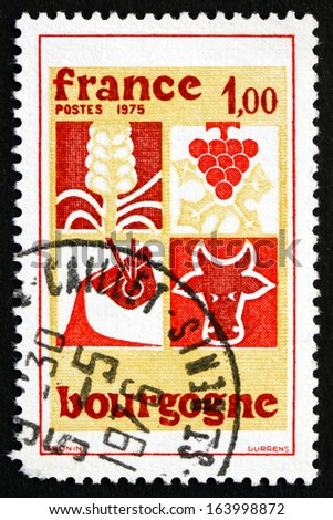 FRANCE - CIRCA 1975: a stamp printed in the France shows Industry of Burgundy, Region of France, circa 1975 - stock photo