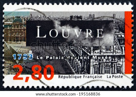 FRANCE - CIRCA 1993: a stamp printed in the France shows Louvre Museum, Bicentenary, circa 1993 - stock photo