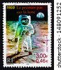 FRANCE - CIRCA 2000: a stamp printed in the France shows Man on the Moon, Apollo 11, circa 2000 - stock photo