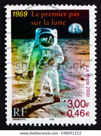 FRANCE - CIRCA 2000: a stamp printed in the France shows Man on the Moon, Apollo 11, circa 2000