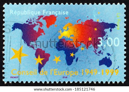 FRANCE - CIRCA 1999: a stamp printed in the France shows Map of the World, 50th Anniversary of the Council of Europe, circa 1999 - stock photo