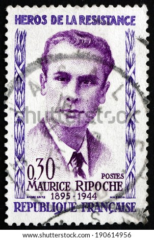 FRANCE - CIRCA 1960: a stamp printed in the France shows Maurice Ripoche, Hero of the French Underground in World War II, circa 1960 - stock photo