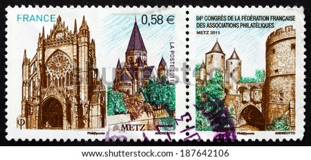 FRANCE - CIRCA 2011: a stamp printed in the France shows Metz, City in the Northeast of France, Capital of the Lorraine Region, circa 2011 - stock photo