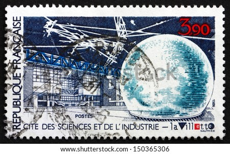 FRANCE - CIRCA 1986: a stamp printed in the France shows Parc de la Villette, City of Science and Industry, Paris, circa 1986